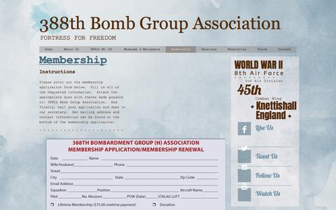 Screenshot of Signup Page 388thbga.org - 388th Bomb Group Association | Membership - captured March 15, 2017