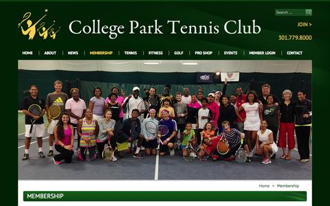 Screenshot of Signup Page cptennisclub.com - Membership - College Park Tennis Club - captured Oct. 8, 2014