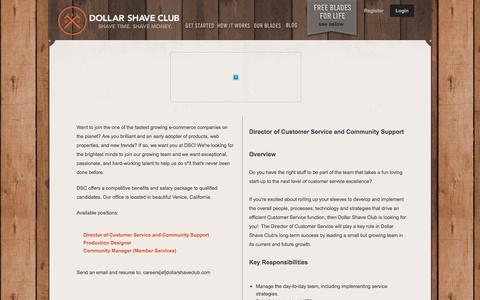 Screenshot of Jobs Page dollarshaveclub.com - We're Hiring - captured April 5, 2016