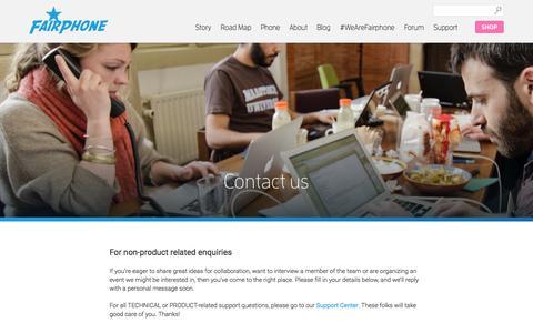 Screenshot of Contact Page fairphone.com - Contact us | Fairphone - captured Oct. 28, 2014