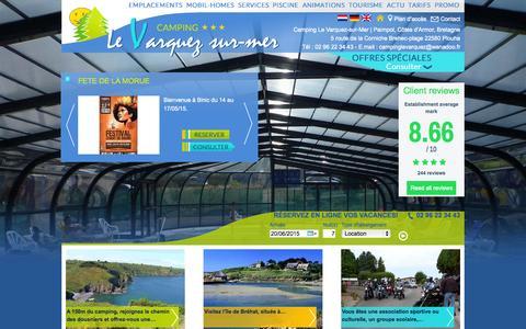 Screenshot of Home Page camping-le-varquez.com - Camping Paimpol, Plouha - Camping 3 étoiles près de Bréhat, Cotes d'Armor en Bretagne - Camping Le Varquez Site Officiel - captured June 20, 2015
