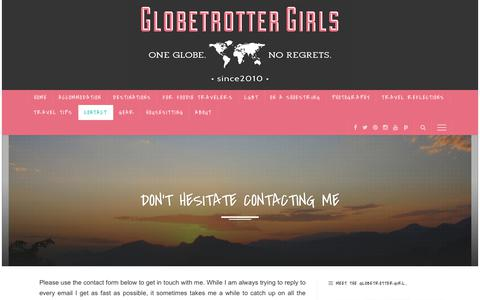 Screenshot of Contact Page globetrottergirls.com - Don't hesitate contacting me | Travel Tips | GlobetrotterGirls - captured Sept. 28, 2018