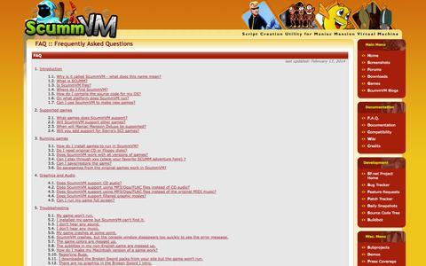 Screenshot of FAQ Page scummvm.org - ScummVM :: F.A.Q. - captured Oct. 31, 2014