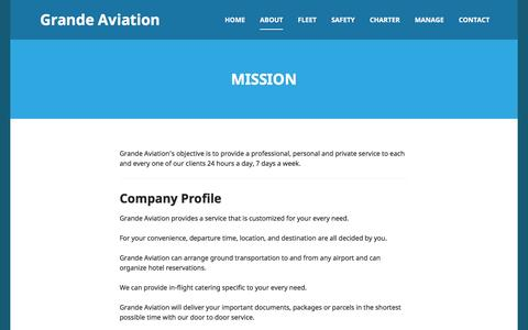 Screenshot of About Page grandeaviation.com - Mission | Grande Aviation - captured July 17, 2016