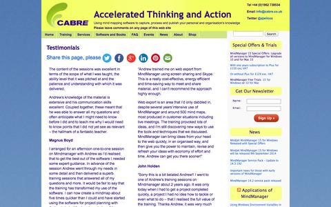 Screenshot of Testimonials Page cabre.co.uk - Testimonials for Cabre - captured Sept. 26, 2014