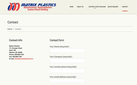 Screenshot of Contact Page matrixplastics.com - Matrix Plastics - Plastic Molding and Extrusion Sales Agencies and Manufacturers Reps | Matrix Plastics - captured June 10, 2017