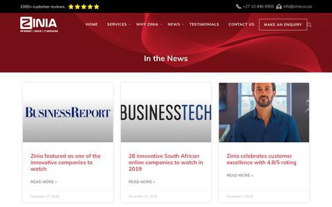 Screenshot of Press Page zinia.co.za - Zinia in the news - captured Nov. 20, 2019