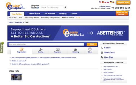 Screenshot of FAQ Page easyexport.us - Answering the Questions Regarding Buying Salvage Vehicles on Copart - captured Jan. 25, 2016
