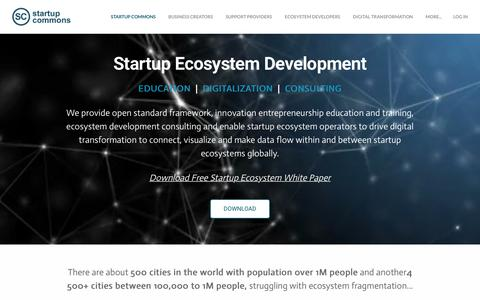 Screenshot of Home Page startupcommons.org - Startup Commons - Startup Commons - captured Sept. 22, 2018