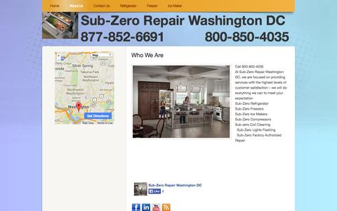 Screenshot of About Page webs.com - subzerorepairwashingtondc.com - About Us - captured Sept. 13, 2014