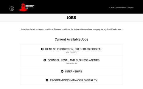 Screenshot of Jobs Page frederator.com - Jobs - Frederator - captured Sept. 29, 2018