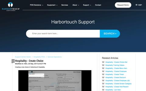Screenshot of Support Page harbortouch.com - Hospitality - Create Choice : Harbortouch Support Center - captured Oct. 9, 2018