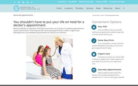Screenshot of Hours Page afmfc.com - Same day appointments - Associates In Family Medicine - captured Nov. 21, 2016