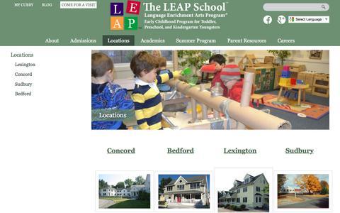 Screenshot of Locations Page leapschool.com - LEAP School Locations   The Leap School - captured Feb. 25, 2016
