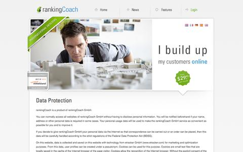 Screenshot of Privacy Page rankingcoach.com - rankingCoach's privacy protection policy - captured Oct. 26, 2014