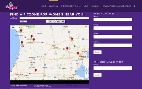 Screenshot of Contact Page Trial Page Locations Page fitzoneforwomen.com - Locations | FitZone For Women - captured Feb. 7, 2018