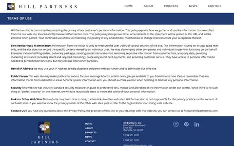 Screenshot of Privacy Page hillpartnersinc.com - Hill Partners, Inc. Privacy Policy and Website Usage Policy - captured Nov. 5, 2018