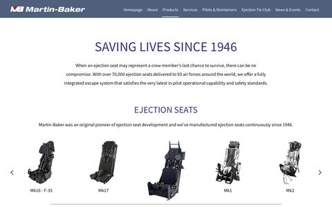 Screenshot of Products Page martin-baker.com - Products - Martin-Baker - captured Oct. 17, 2017