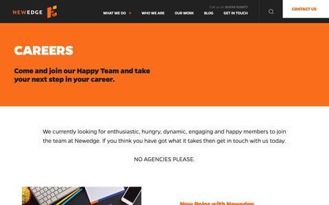 Screenshot of Jobs Page newedge.co.uk - Front End Developer : Newedge » NewEdge Web Design & SEO - captured Oct. 20, 2018