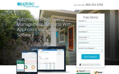 Screenshot of Landing Page appfolio.com - Property Management Software SEM-LP2 - captured Jan. 21, 2017