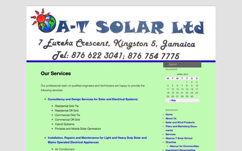 Screenshot of Services Page a-tsolar.com - Our Services | A-T Solar - captured April 2, 2016
