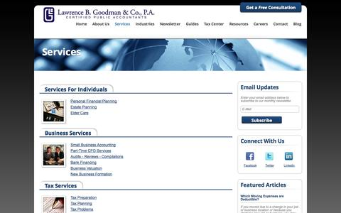 Screenshot of Services Page lbgcpas.com - Fair Lawn, New Jersey Accounting Firm | Services Page | Lawrence B. Goodman & Company - captured Oct. 2, 2014