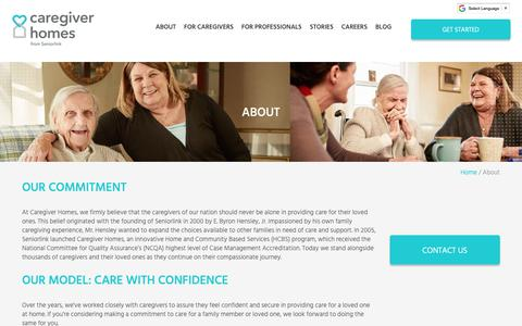 Screenshot of About Page caregiverhomes.com - About Our Caregiver Services | Caregiver Homes - captured April 11, 2019