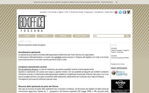 Screenshot of FAQ Page boxofficetoscana.it - Boxoffice Toscana - F.A.Q. - captured Jan. 14, 2016