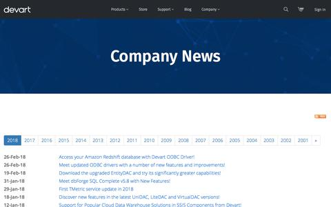 Screenshot of Press Page devart.com - Devart News: New Software Releases, Company News and Press Releases - 2018 - captured March 4, 2018