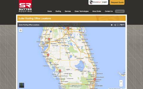 Screenshot of Locations Page sutterroofing.com - Sutter Roofing Office Locations   Sutter Roofing Florida - captured Oct. 3, 2014