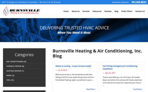 Screenshot of Blog burnsvilleheating.com - Our Blog   Burnsville Heating & Air Conditioning, Inc. - captured Oct. 11, 2017