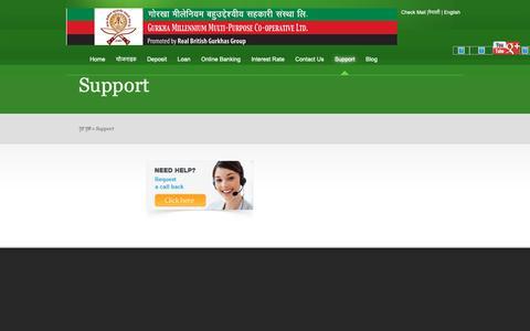 Screenshot of Support Page gurkhaml.com - Support | Gurkha Millenium Co-operative - captured Sept. 30, 2018