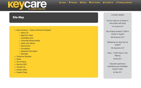 Screenshot of Site Map Page keycare.co.uk - Keycare Site map - captured Oct. 17, 2017