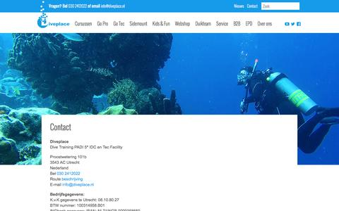 Screenshot of Contact Page diveplace.nl - Contact - Diveplace - captured Aug. 2, 2016