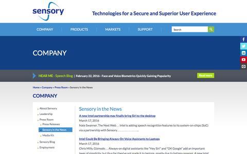 Screenshot of sensory.com - Sensory in the News | Sensory - captured March 19, 2016