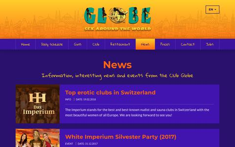 Screenshot of Press Page club-globe.ch - Information, interesting news and events from the Club Globe - captured Sept. 23, 2018