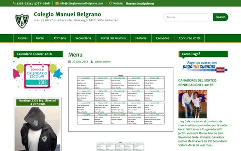 Screenshot of Menu Page colegiomanuelbelgrano.com - Menu – Colegio Manuel Belgrano - captured Nov. 5, 2018