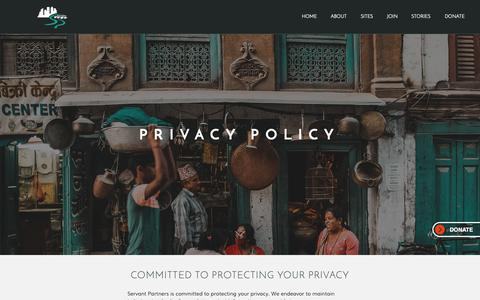 Screenshot of Privacy Page servantpartners.org - Servant Partners | Privacy Policy - captured Nov. 5, 2018