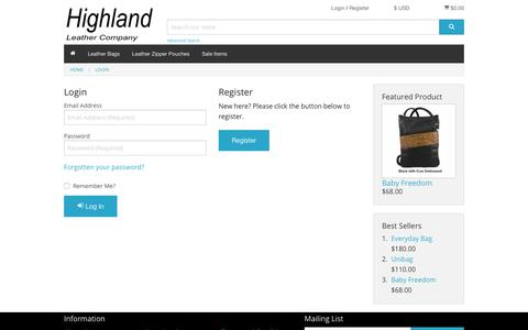 Screenshot of Login Page highlandleather.com - Handmade Leather Bags by Highland Leather Co. - captured Dec. 3, 2018
