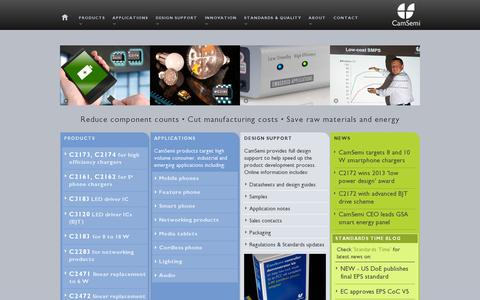 Screenshot of Home Page camsemi.com - CamSemi | Controllers for low cost, energy efficient power conversion - captured July 11, 2014