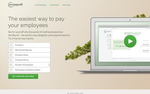 Screenshot of Landing Page zenpayroll.com - Delightful, Modern Payroll | ZenPayroll - captured Oct. 27, 2014