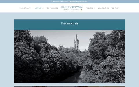 Screenshot of Testimonials Page begleybrown.co.uk - Testimonials | Begley Brown - captured Oct. 5, 2018
