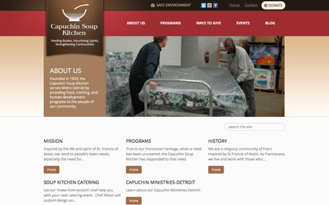 Screenshot of About Page cskdetroit.org - Capuchin Soup Kitchen - About Us - captured Jan. 25, 2016