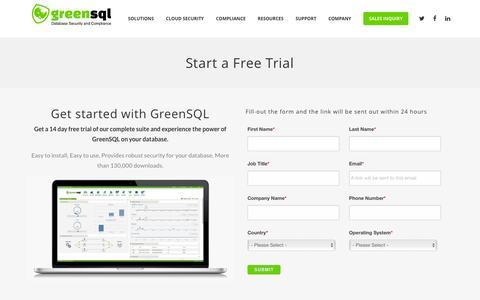 Screenshot of Trial Page greensql.com - Start a Free Trial - GreenSQL - captured Dec. 4, 2015