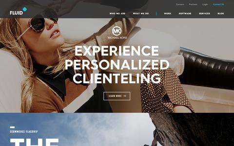 Screenshot of Home Page fluid.com - Ecommerce Web Design - On-demand Visual Merchandising Solutions - captured Nov. 9, 2018