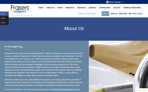Screenshot of About Page frasersaerospace.com - Aviation Approved Cleaning and Appearance Products. - captured Aug. 22, 2018