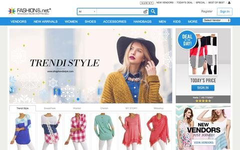 Screenshot of Home Page fashiongo.net - FashionGo -  Wholesale Clothing, Apparel, Handbags, Accessories, Shoes, Tops, Jeans - captured Jan. 13, 2016