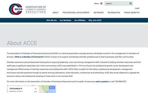 Screenshot of About Page acce.org - Association of Chamber of Commerce Executives - About ACCE - captured Oct. 31, 2014