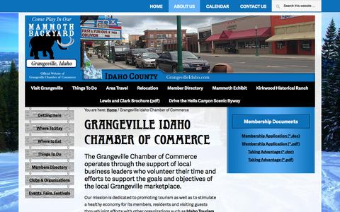 Screenshot of About Page grangevilleidaho.com - Grangeville Chamber of Commerce — The Official Website of the Grangeville Chamber of Commerce - captured June 25, 2016