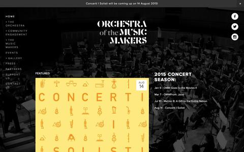 Screenshot of Home Page orchestra.sg - Orchestra of the Music Makers - captured Aug. 12, 2015